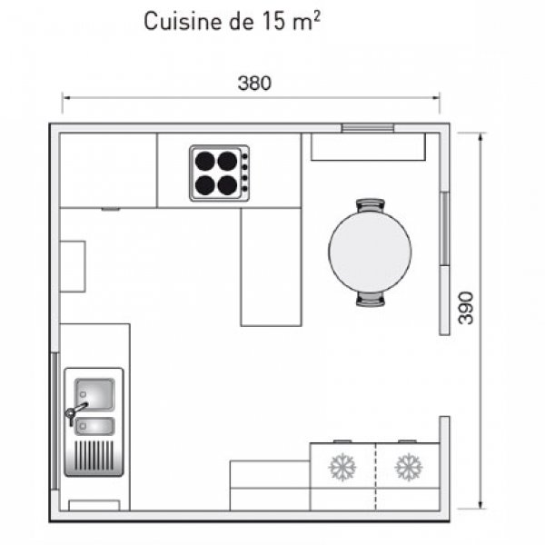 cuisine 15m2 top cuisine. Black Bedroom Furniture Sets. Home Design Ideas