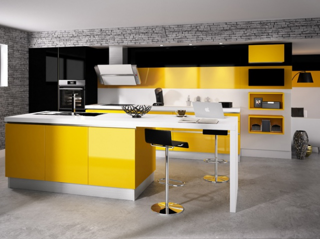 cuisine jaune top cuisine. Black Bedroom Furniture Sets. Home Design Ideas