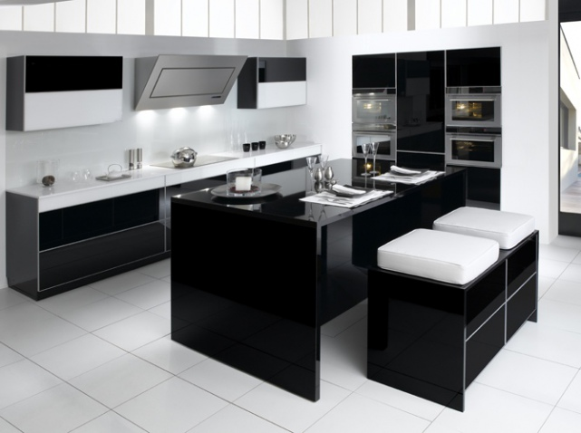 cuisine noir et blanc top cuisine. Black Bedroom Furniture Sets. Home Design Ideas