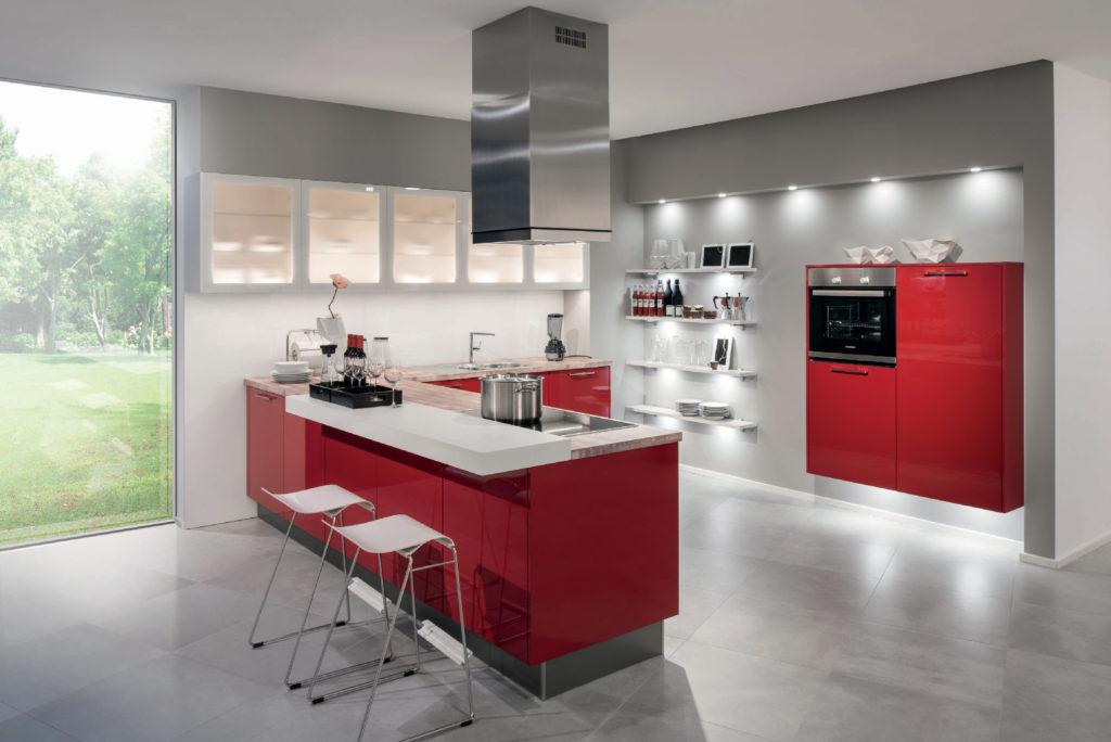 Cuisine rouge top cuisine for Cuisine 8m2 prix