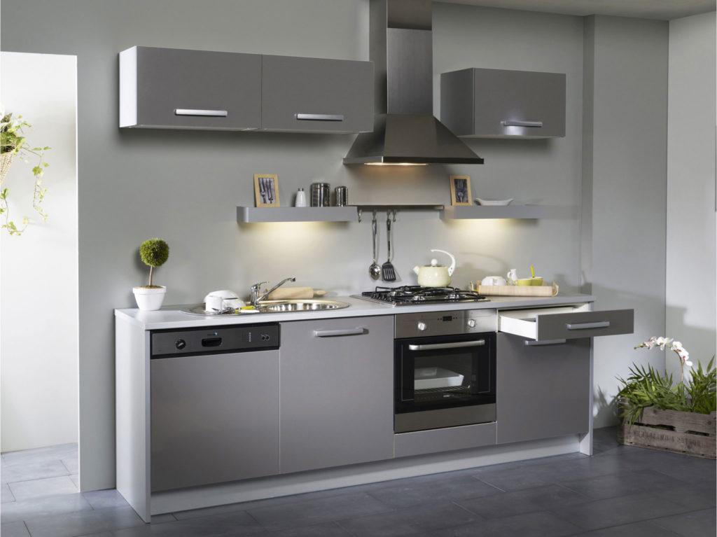 Cuisine gris et blanc top cuisine for Cuisine 2m2