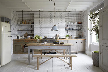 modèle cuisine grise et bois