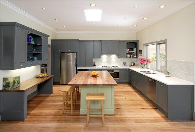 exemple cuisine grise et bois
