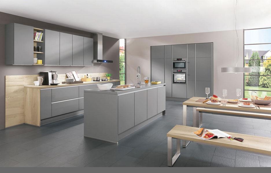 photo cuisine grise et bois
