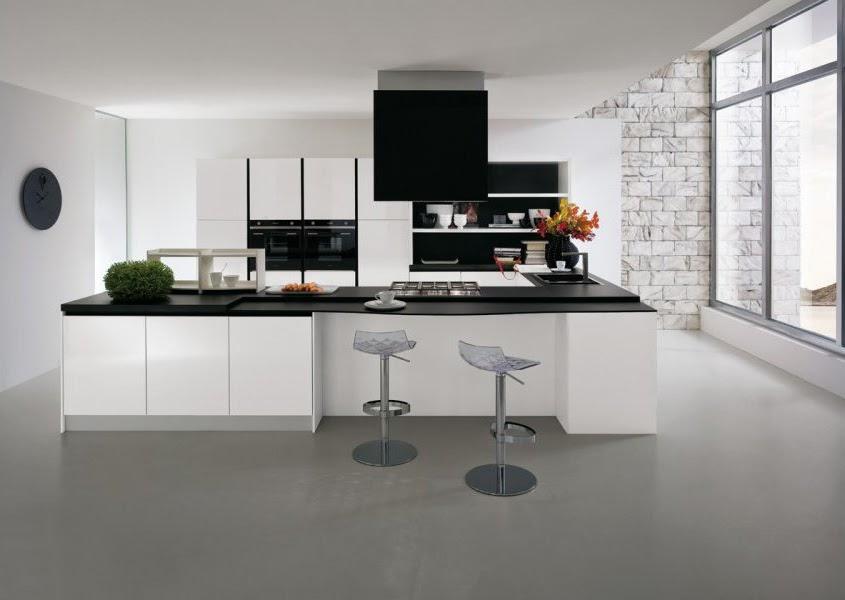 Superbe cuisine noire et blanche with plan cuisine 11m2 for Plan cuisine ouverte 11m2