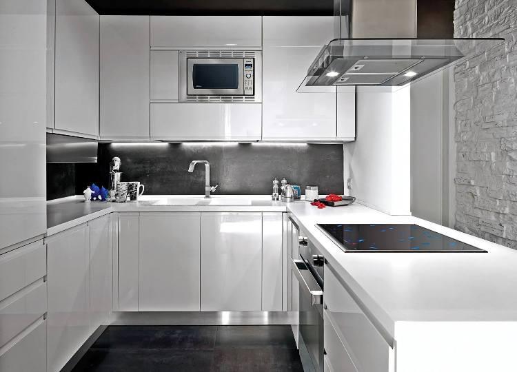 modèle cuisine blanche et grise