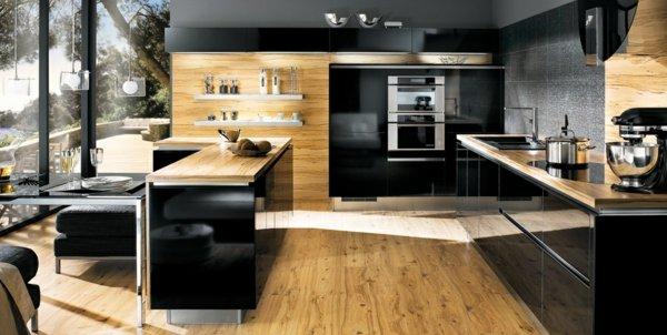 photo cuisine bois et noir