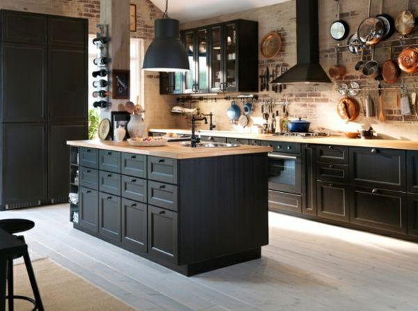 modèle cuisine bois et noir