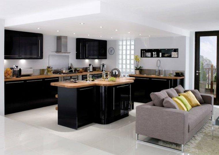 image cuisine bois et noir