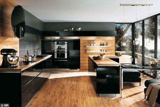 visualiser cuisine bois et noir