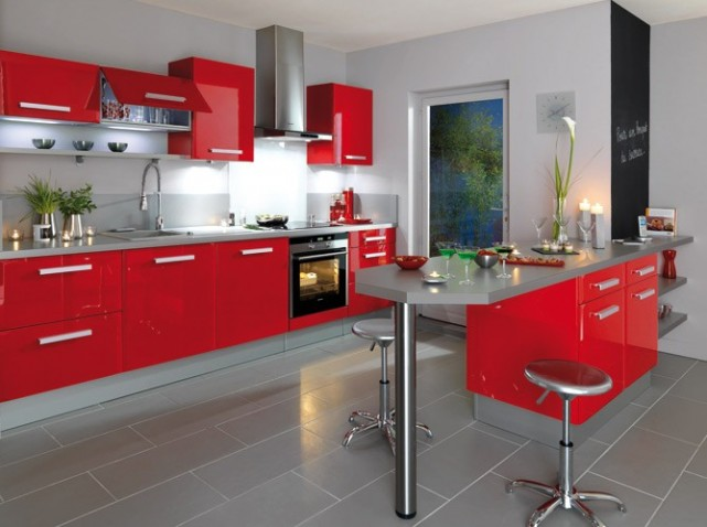 illustration cuisine rouge
