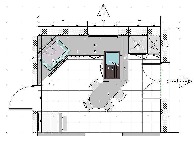 modèle cuisine 11m2