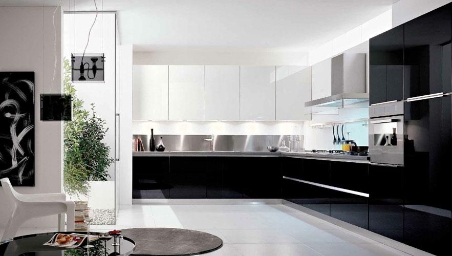 image cuisine noire et blanche