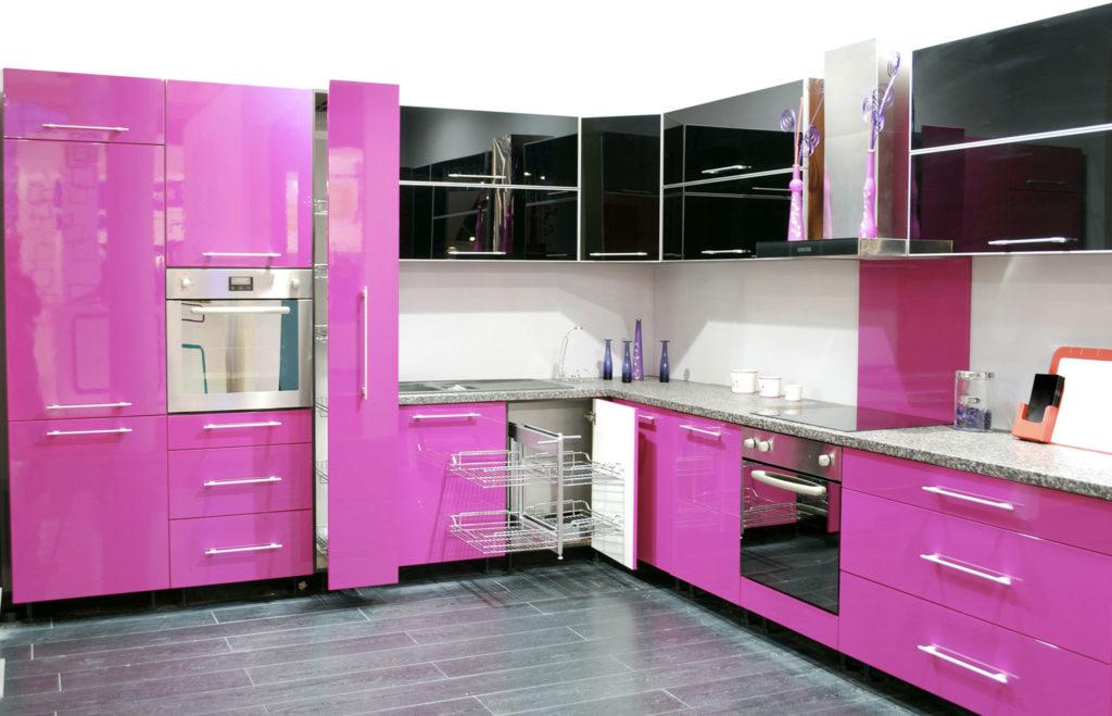 modèle cuisine rose